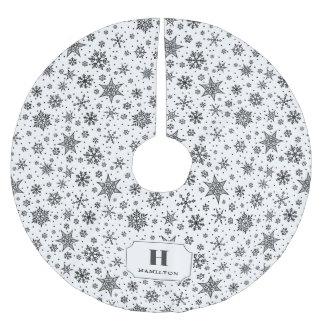Saia Para Árvore De Natal De Poliéster Monograma moderno do teste padrão do floco de neve