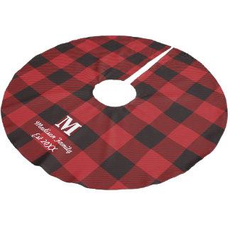 Saia Para Árvore De Natal De Poliéster monograma vermelho da xadrez do lenhador do búfalo