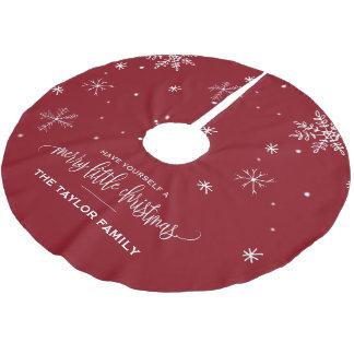 Saia Para Árvore De Natal De Poliéster Natal vermelho do floco de neve