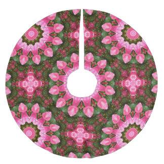 Saia Para Árvore De Natal De Poliéster Natureza cor-de-rosa da flor, mandala para o Natal