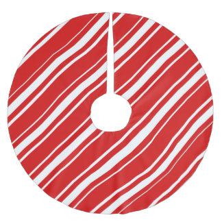Saia Para Árvore De Natal De Poliéster O branco vermelho do Natal listra a saia da árvore