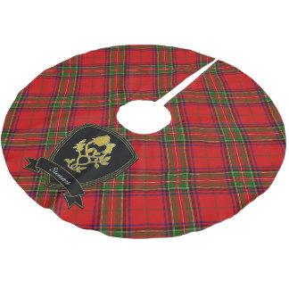 Saia Para Árvore De Natal De Poliéster O cardo escocês do ouro do Tartan aumentou seu