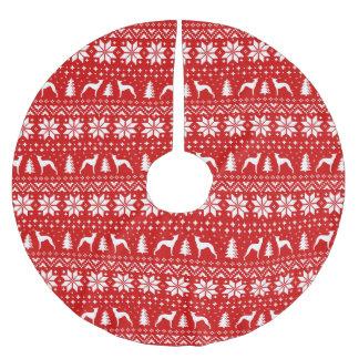 Saia Para Árvore De Natal De Poliéster O galgo italiano mostra em silhueta o teste padrão