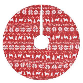 Saia Para Árvore De Natal De Poliéster O norueguês Elkhound mostra em silhueta o teste