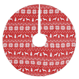 Saia Para Árvore De Natal De Poliéster O Pinscher do Doberman mostra em silhueta o teste