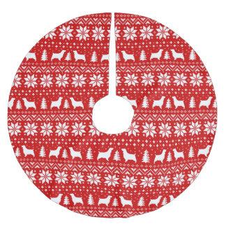Saia Para Árvore De Natal De Poliéster O Spaniel de Springer mostra em silhueta o