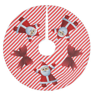 Saia Para Árvore De Natal De Poliéster O vermelho bonito de Papai Noel curva o Feliz