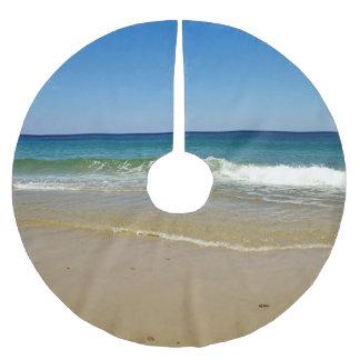 Saia Para Árvore De Natal De Poliéster Ondas e Sandy Beach de oceano