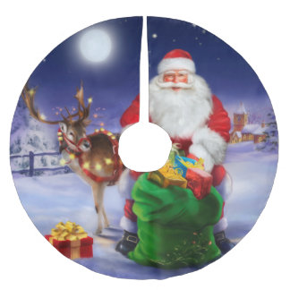 Saia Para Árvore De Natal De Poliéster Papai Noel com rena