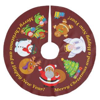Saia Para Árvore De Natal De Poliéster Papai Noel preto e outros caráteres do Natal,