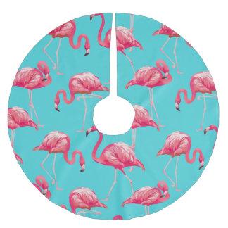 Saia Para Árvore De Natal De Poliéster Pássaros cor-de-rosa do flamingo no fundo de