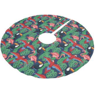 Saia Para Árvore De Natal De Poliéster Pássaros tropicais em cores brilhantes