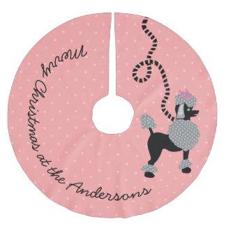 Saia Para Árvore De Natal De Poliéster Pontos modernos do 50 cor-de-rosa retro do cão da