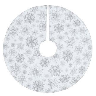 Saia Para Árvore De Natal De Poliéster Saia cristalina branca da árvore dos flocos de