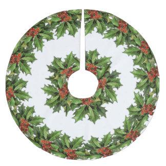 Saia Para Árvore De Natal De Poliéster Saia da árvore de Natal do azevinho do vintage