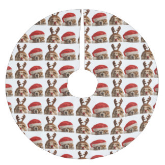 Saia Para Árvore De Natal De Poliéster Saia festiva da árvore de Natal do buldogue bonito