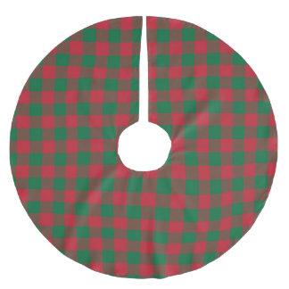 Saia Para Árvore De Natal De Poliéster Saia verde e vermelha da árvore da xadrez do