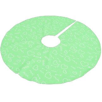 Saia Para Árvore De Natal De Poliéster Seta verde e branca da hortelã dos namorados do