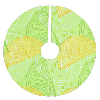 Saia Para Árvore De Natal De Poliéster Teste padrão brilhante dos limões do citrino do