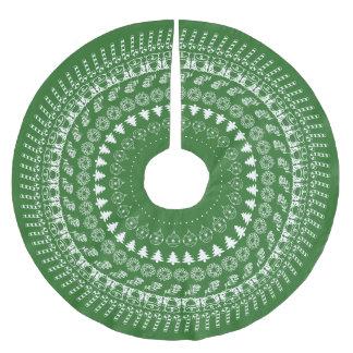 Saia Para Árvore De Natal De Poliéster Teste padrão circular verde/branco da arte da pia
