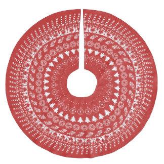 Saia Para Árvore De Natal De Poliéster Teste padrão circular vermelho e branco da pia