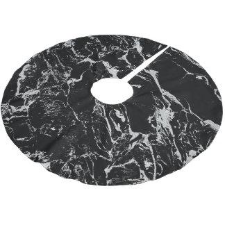 Saia Para Árvore De Natal De Poliéster Teste padrão de mármore preto de prata moderno