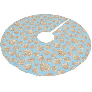 Saia Para Árvore De Natal De Poliéster Teste padrão do Seashell do estilo do vintage do