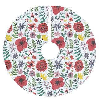 Saia Para Árvore De Natal De Poliéster Teste padrão floral do Watercolour