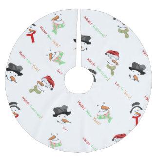Saia Para Árvore De Natal De Poliéster Teste padrão lunático do boneco de neve do Natal