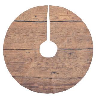 Saia Para Árvore De Natal De Poliéster Textura de madeira