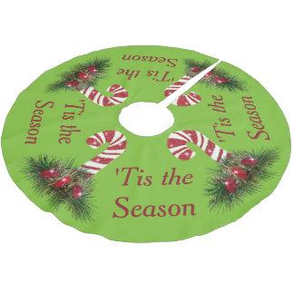 Saia Para Árvore De Natal De Poliéster 'Tis o bastão de doces da estação