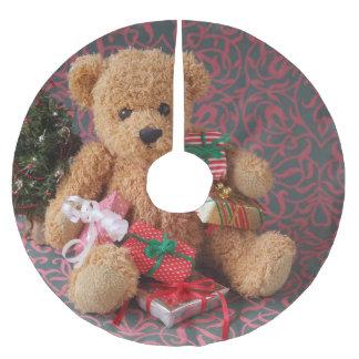 Saia Para Árvore De Natal De Poliéster Urso de ursinho com muitos presentes do Natal
