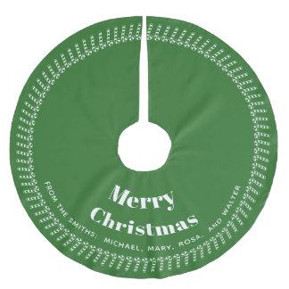 Saia Para Árvore De Natal De Poliéster Verde e White Christmas - seu texto, seus nomes