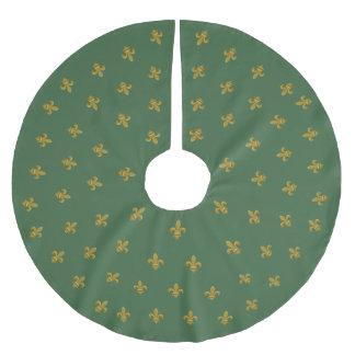 Saia Para Árvore De Natal De Poliéster Verde elegante e ouro da saia da árvore da flor de