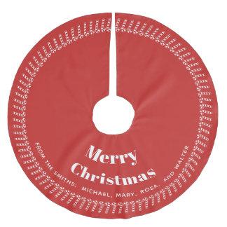 Saia Para Árvore De Natal De Poliéster Vermelho e White Christmas - seu texto, seus nomes