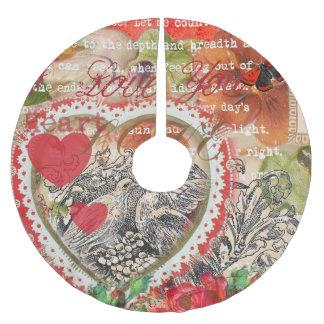 Saia Para Árvore De Natal De Poliéster Vintage dos pássaros do amor do coração