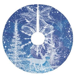 Saia Para Árvore De Natal De Poliéster White Christmas Bels & fundo do azul das árvores