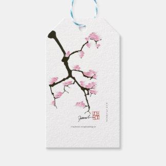 sakura com os pássaros cor-de-rosa por fernandes etiqueta para presente
