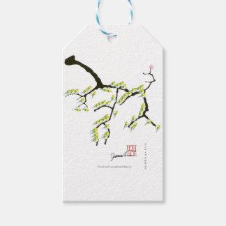 sakura com pássaros verdes, fernandes tony etiqueta para presente