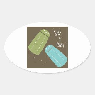 Sal e pimenta adesivos oval