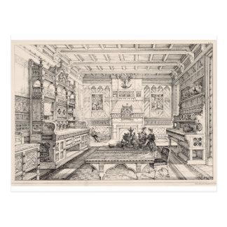 Sala de jantar dos exemplos de antigo e de moder cartões postais