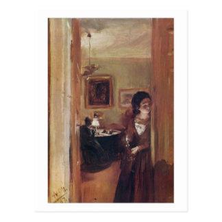 Sala de visitas com o cartão da irmã do artista cartao postal