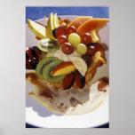 Salada de fruta com gelado impressão