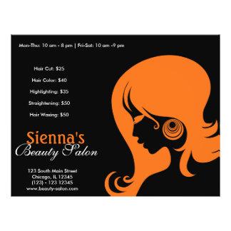 Salão de beleza (alaranjado) panfleto personalizados