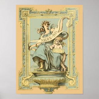 Salão de beleza azul & amarelo 1895 dos posters da