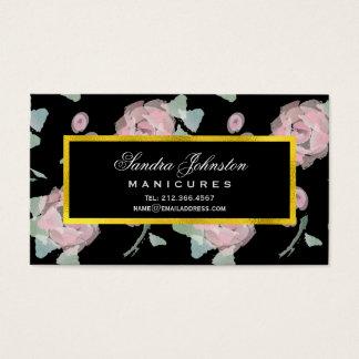 Salão de beleza cor-de-rosa bonito da aguarela dos cartão de visitas