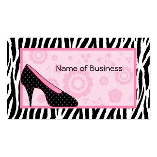 Salão de beleza cor-de-rosa bonito dos calçados do cartão de visita