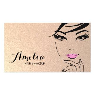 Salão de beleza da cara da mulher & ouro do cartão de visita