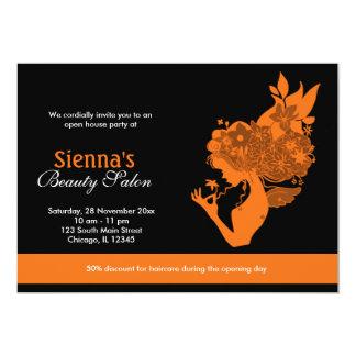 Salão de beleza da grande inauguração (alaranjado) convite 12.7 x 17.78cm