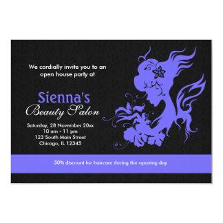 Salão de beleza da grande inauguração (azul claro convite